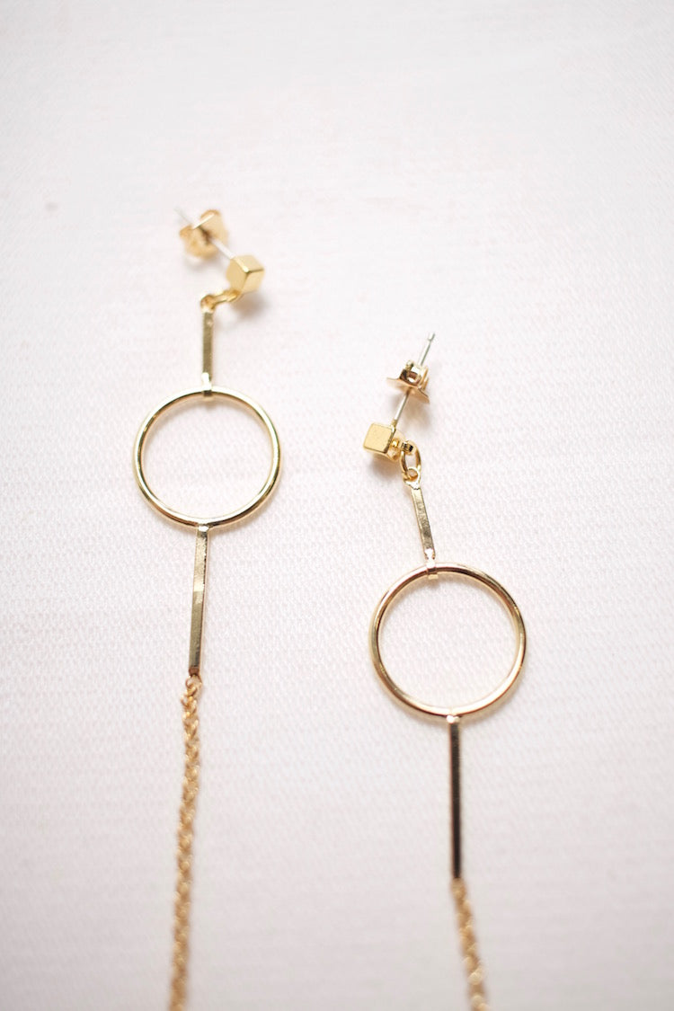 Earrings - Circle Long Chain with Square Stud