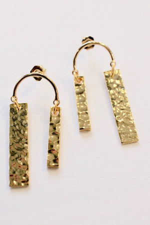 Earrings Asymmetrical Hammered Bar