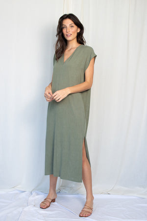 Straight Dress Midi - Tencel Viscose - Sage