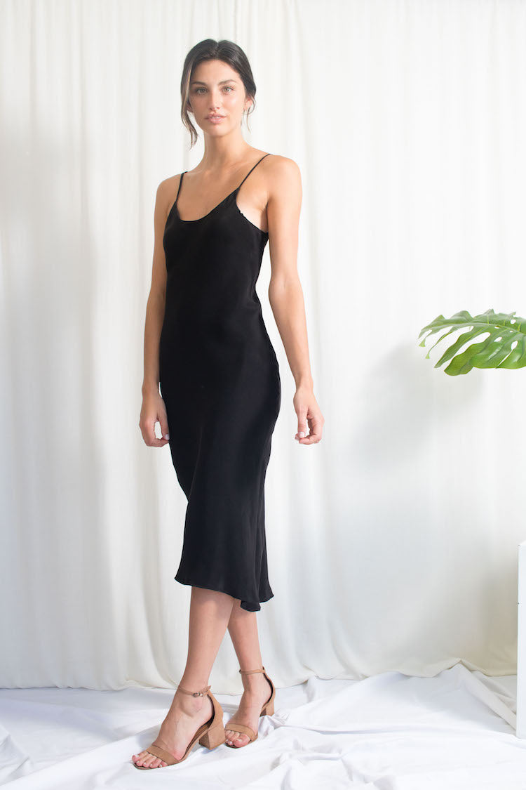 Black Bias Slip Dress