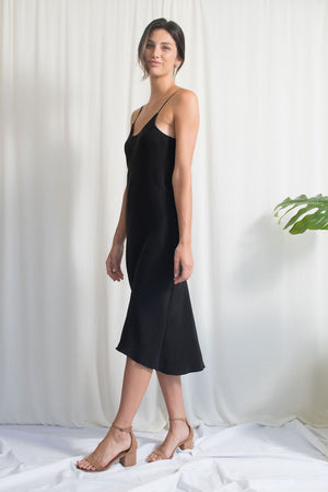 Bias Slip Dress - Black Cupro