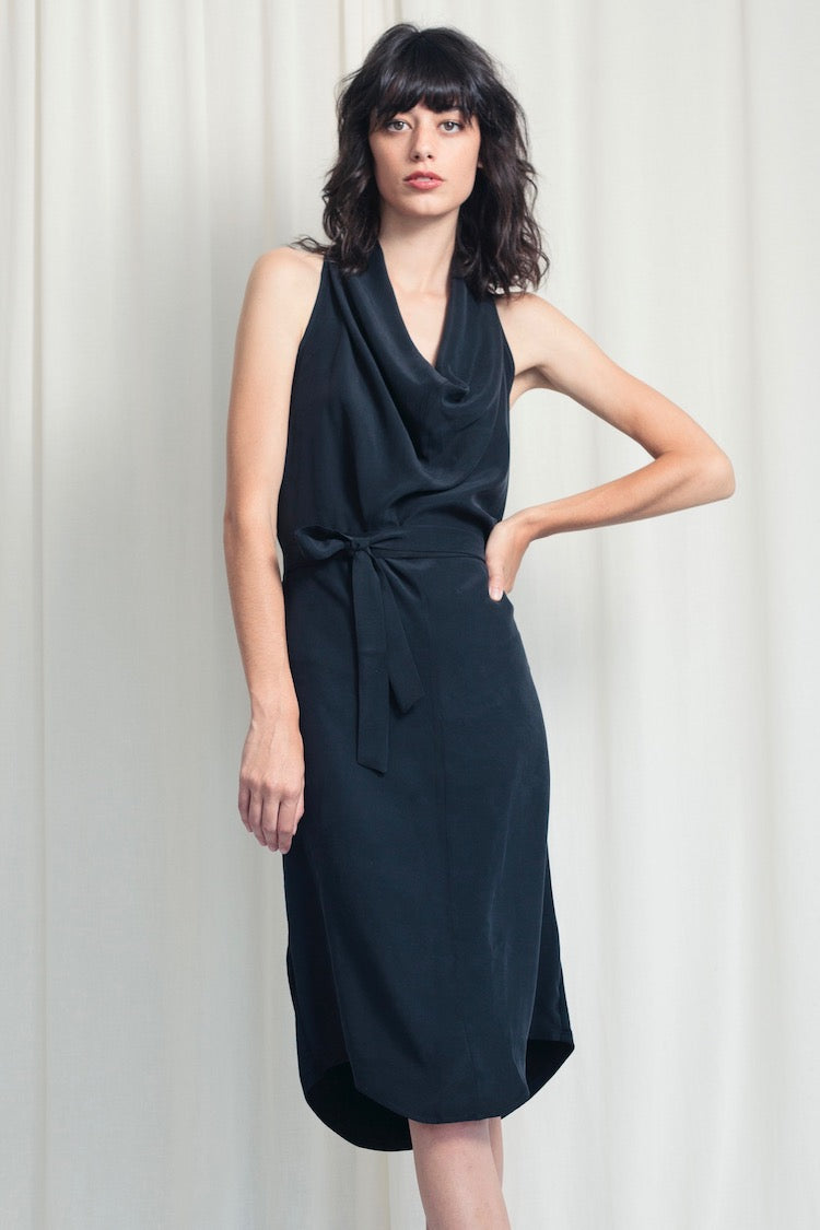 Cowl Dress - Silk and Jersey