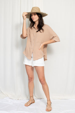 Boxy Button Up - Cotton Gauze - Tan