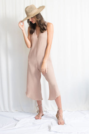 Jumpsuit - Cotton Gauze - Tan