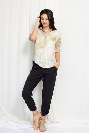 Boxy Button Up - Limited Edition Natural Dye Sage
