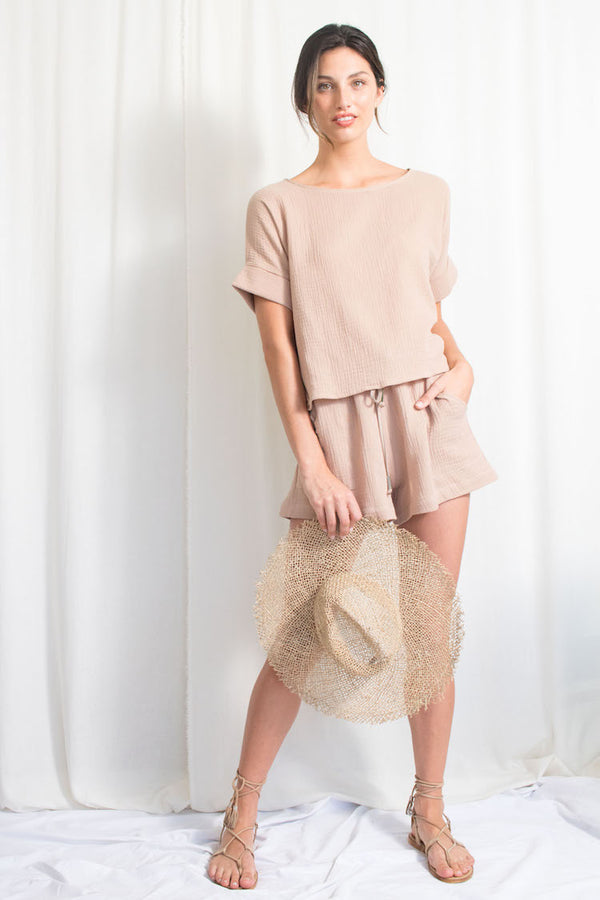 Summer Short - Cotton Gauze - Tan