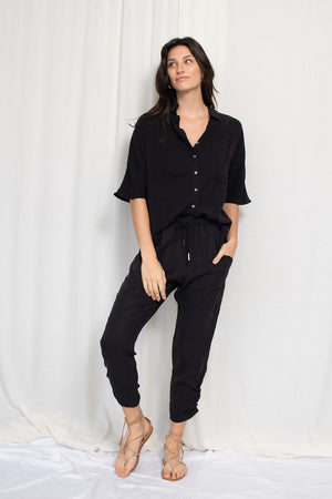 Boxy Button Up - Tencel Viscose - Black