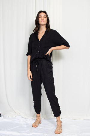 Slim Slouch Pant - Tencel Viscose - Black