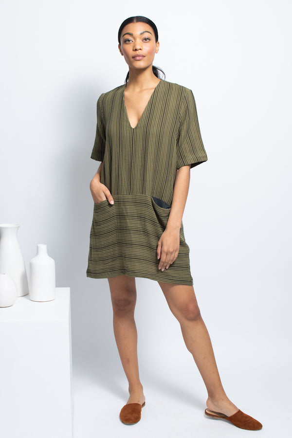 Pocket Shift Dress - Cotton - Olive Stripe