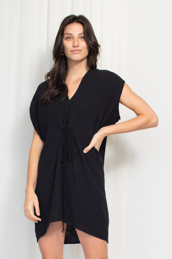 Cascade Mini Dress - Cotton Gauze - Black
