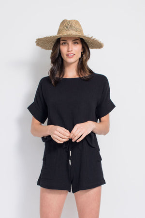 Summer Short - Cotton Gauze - Black