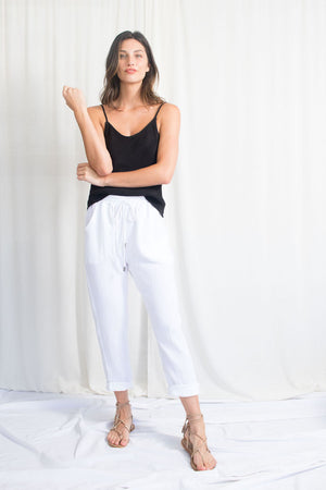 Travel Pant - Cotton Gauze - White