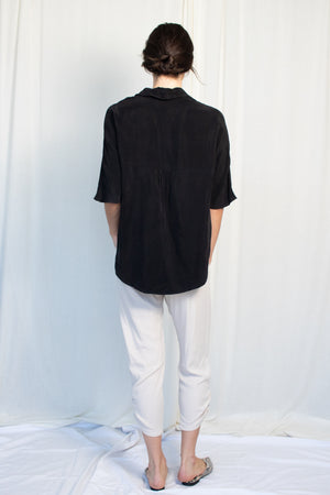 Boxy Button Up - Cupro - Black