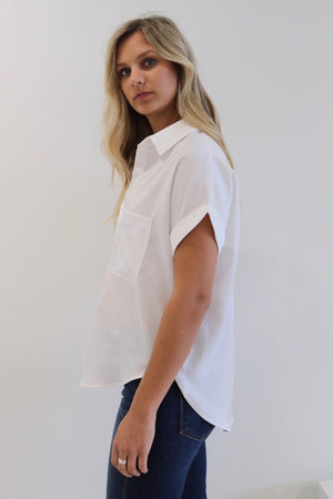 Boxy Button Up-White