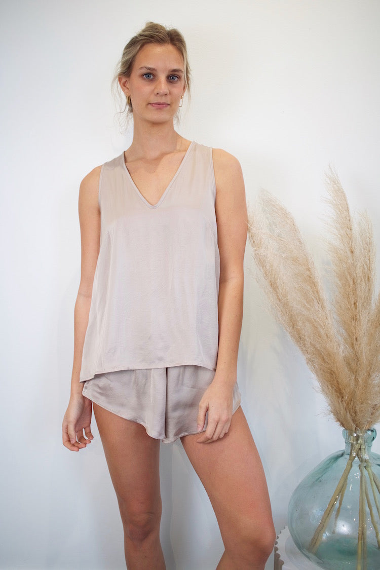 Simple Tank PJ Set - Silver