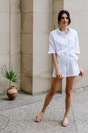 Boxy Button Up - Cotton Gauze - White