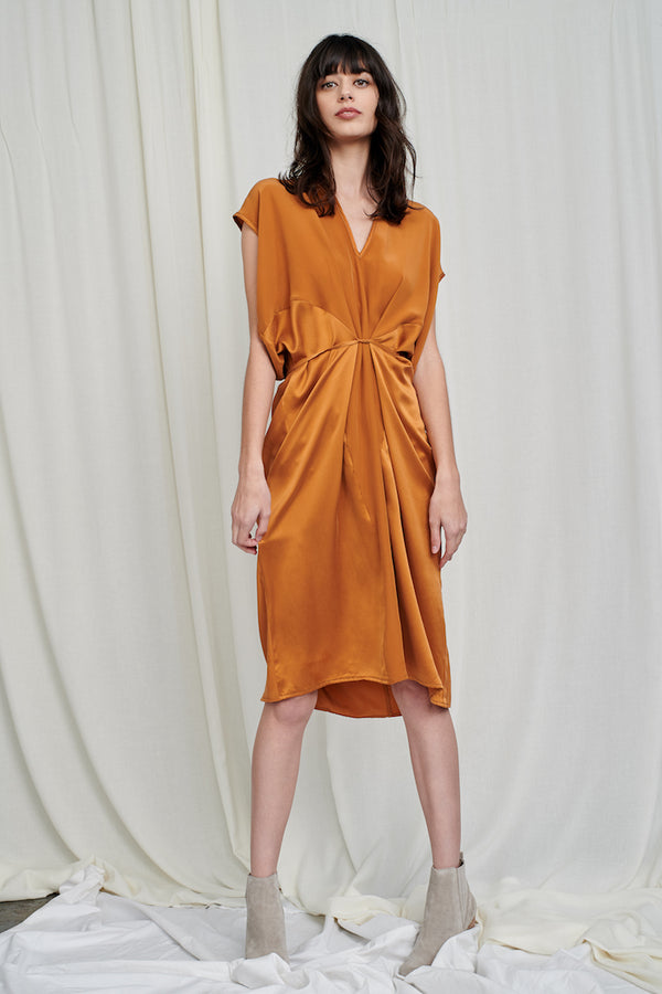 Seamed Cascade Dress