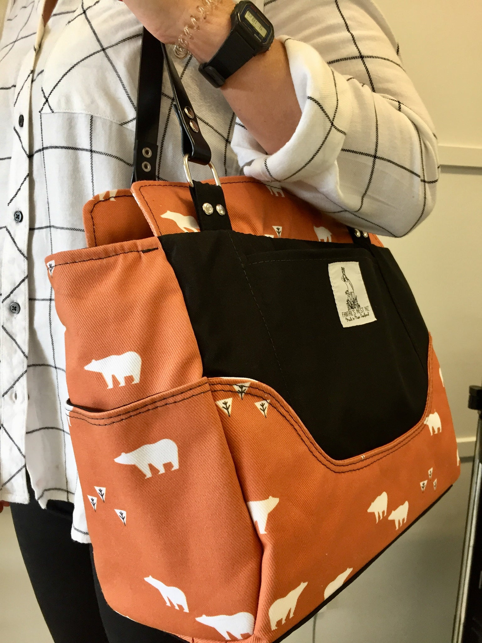 Nappy Bag/Hand Bag - Rusty Bear (Match Me)