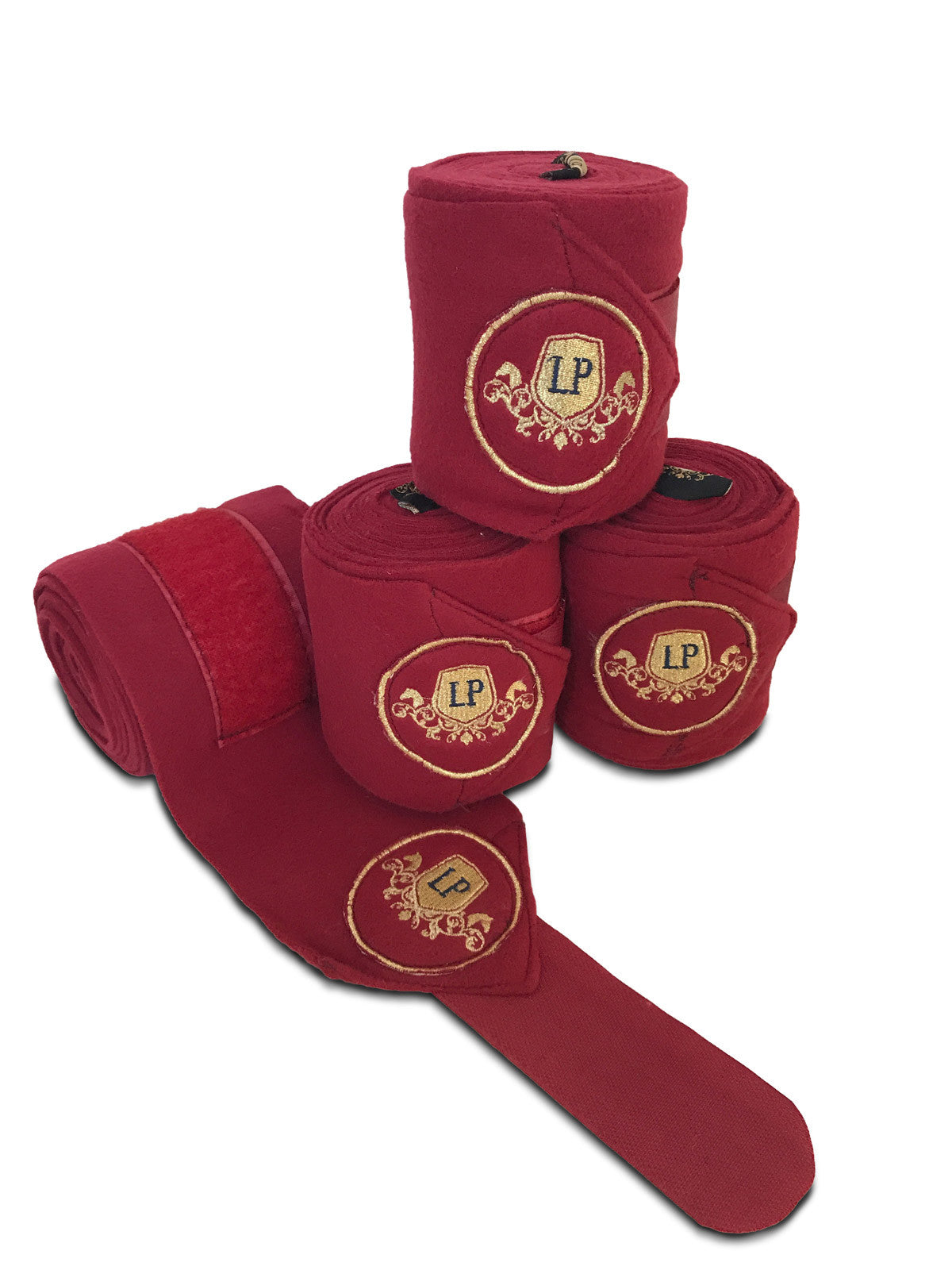 Equestrian Horse Product. Burgundy Fleece Bandages