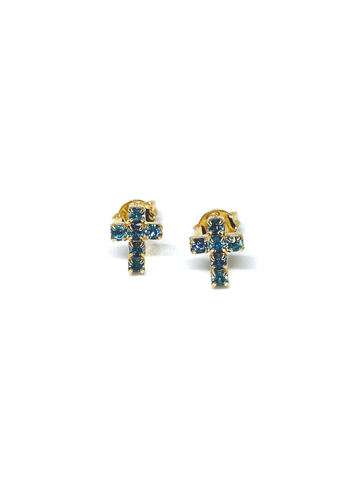 Mini Blue Cross Earrings