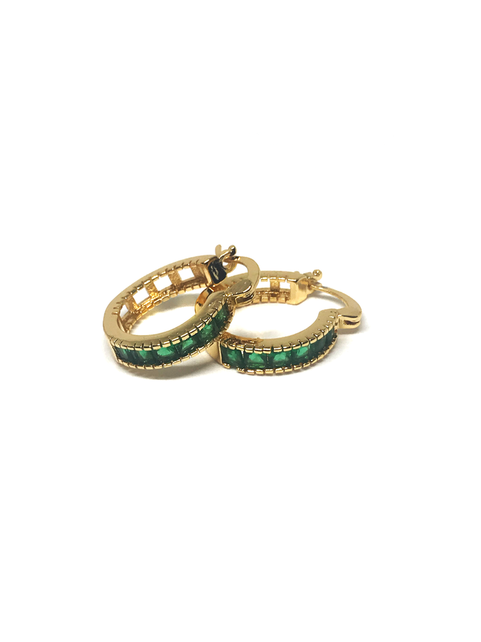 Mini Emerald Hoops