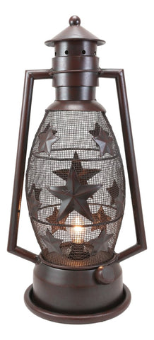 Old Fashioned Rustic Western Stars Electric Metal Lantern Lamp Or Shadow Caster