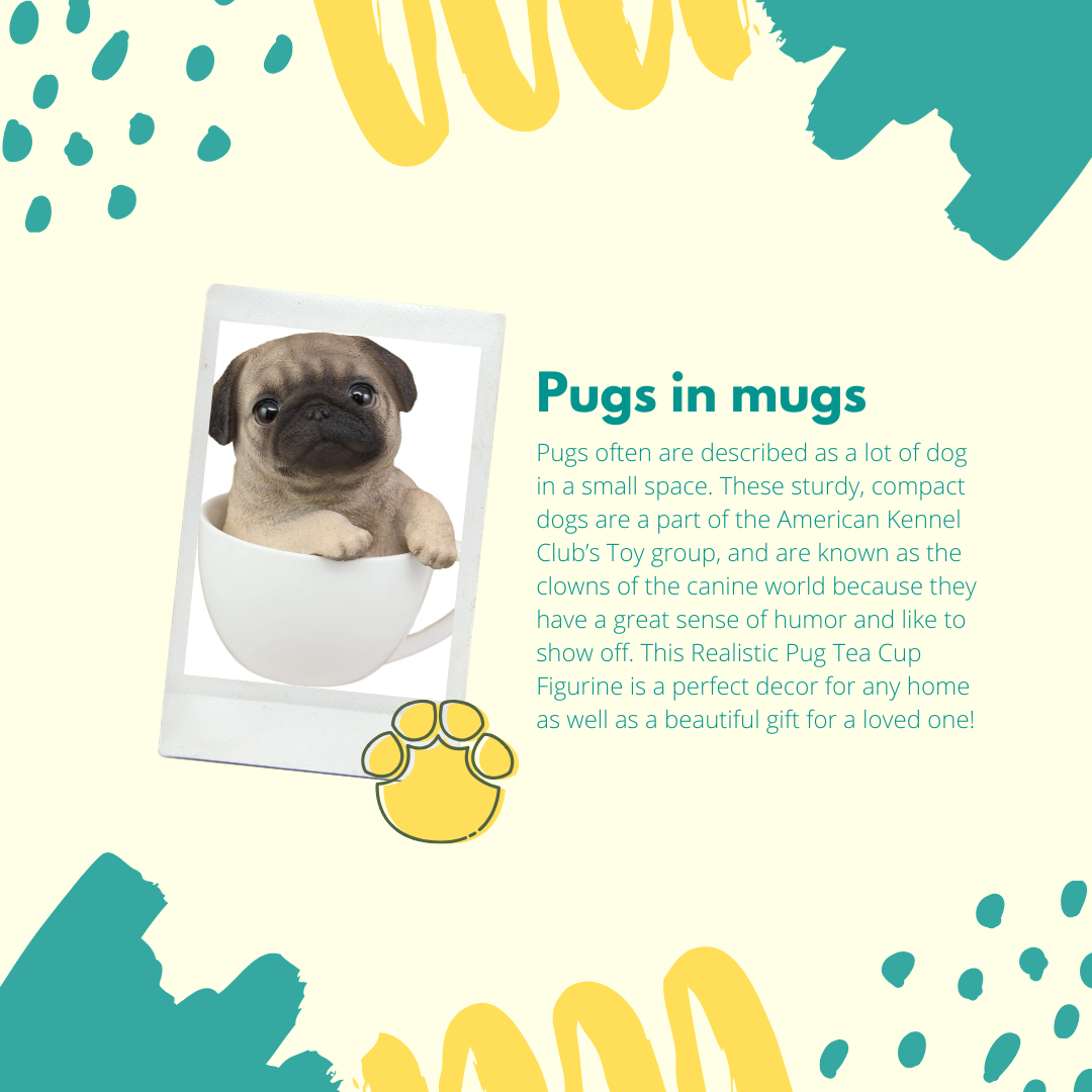 Pugs often are described as a lot of dog in a small space. These sturdy, compact dogs are a part of the American Kennel Club's Toy group, and are known as the clowns of the canine world because they have a great sense of humor and like to show off. This Realistic Pug Tea Cup Figurine is a perfect decor for any home as well as a beautiful gift for a loved one!