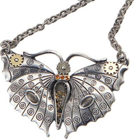 steampunk butterfly pendant necklace
