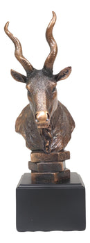 African Kudu Antelope Rustic Statue in Bronze Electroplated Finish With Base