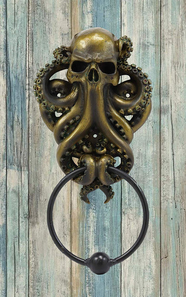 Ebros Gift Bermuda Triangle Ocean Monster Octopus Kraken Ghost Of Cthulhu Door Knocker Figurine Decorative Resin Decor Knockers Cephalopod Deep Sea