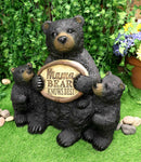 Large Rustic Forest Black Bear With 2 Cubs Holding Mama Knows Best Sign Statue
