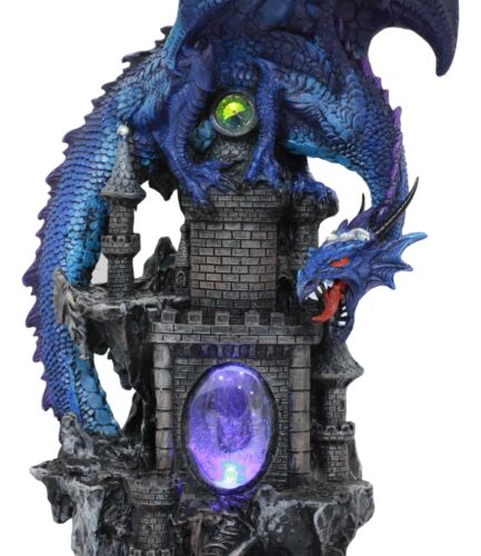 "Ebros 20""H Blue Waterfall Spyro Dragon On Castle Statue LED Night Light Figurine"