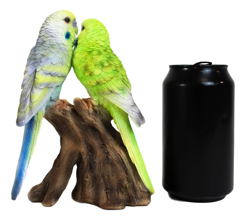 Ebros Parakeets Perching on Branch with Motion Activated Bird Sound Figurine