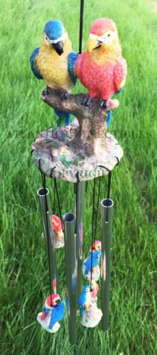 Red and Blue Scarlet Macaw Parrots Couple Resonant Relaxing Wind Chime Patio