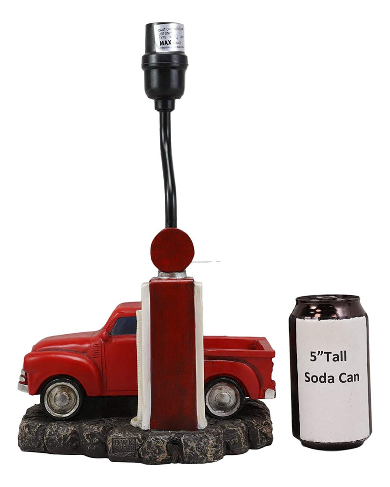 "Ebros Classic Big Red Pickup Truck by Rural Gas Pump Desktop Table Lamp 18.75"" H"
