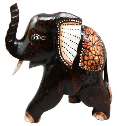 "Balinese Wood Handicrafts Jungle Elephant With Eggskin Shells Figurine 10""H"