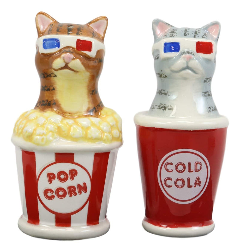 Ebros Funky Cats With Cinema 3D Glasses Sitting In Soda Pop Cup And Popcorn Tub At The Movies Salt And Pepper Shakers Set Ceramic Figurines Party Kitchen Tabletop Cat Decor Collectible - Ebros Gift