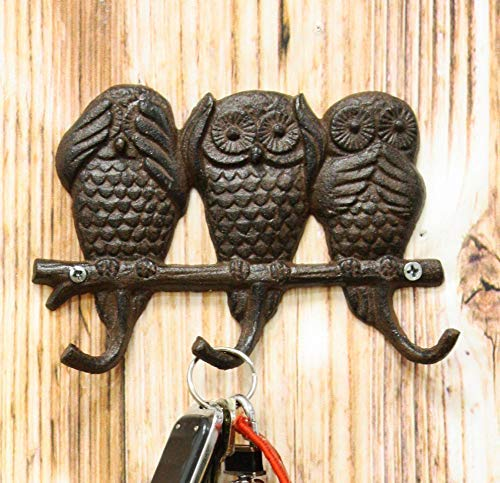 "Ebros Cast Iron Rustic See Hear Speak No Evil Owls Family 3 Pegs Wall Hooks 7"" W"