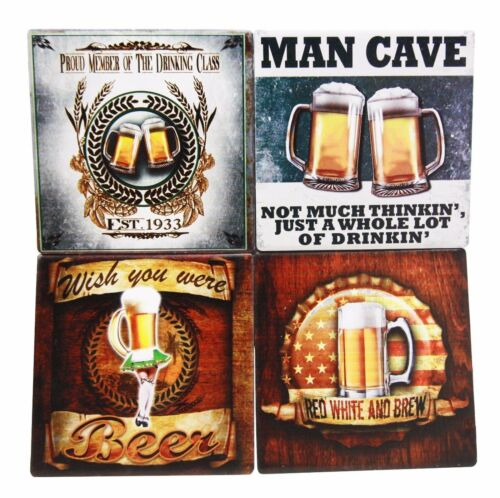 Beer Lovers Man Cave Brewery Tankard Logo Ceramic Coaster Set Of 4 Corked Tiles