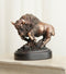 Western Charging American Buffalo Bison Small Bronze Patinated Resin Figurine