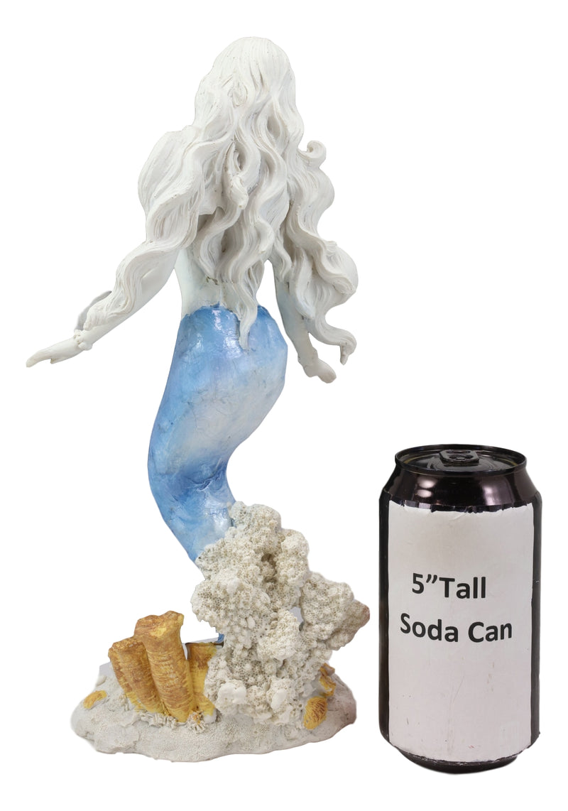 Capiz Blue White Ombre Tail Nautical Mermaid Standing By Sea Coral Reef Statue