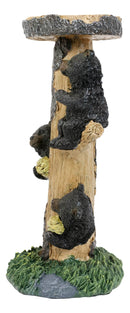 Rustic Climbing Bear Cubs With Honeycomb Bee Hives Pillar Candle Holder Stand