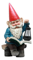 "Ebros Whimsical Wizard Gnome Reading A Spell Book Statue 19""Tall With Solar LED Lantern Courtesy Path Light Sculptural Decor"
