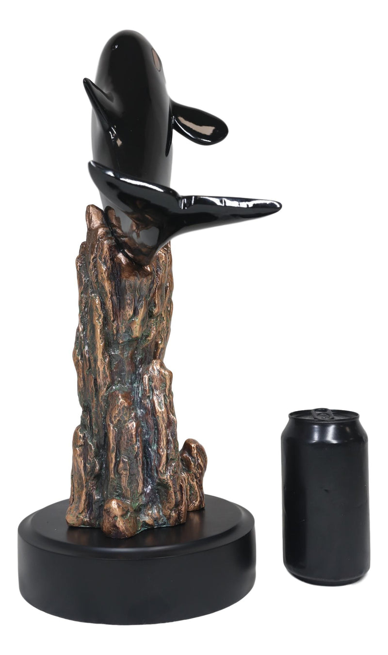 Large Nautical Marine Sea Orca Killer Whale Swimming By Coral Reefs Statue