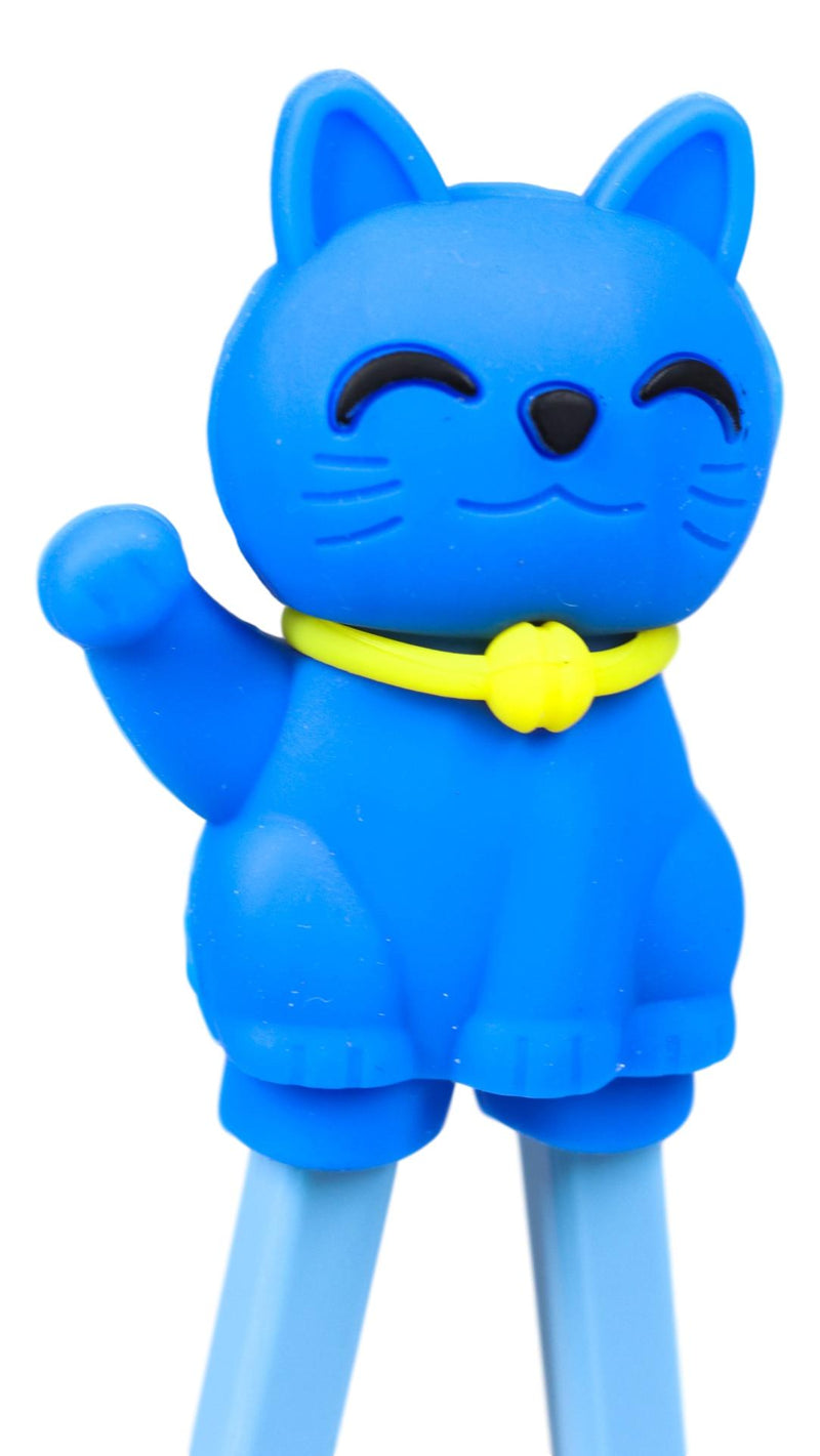 Ebros Blue Maneki Neko Cat Reusable Training Chopsticks Set With Silicone Helper