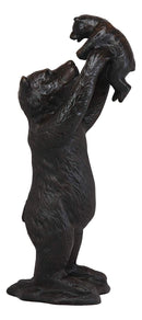 "Ebros 16.25"" High Aluminum Whimsical Black Momma Bear Lifting Her Cub Statue Rustic Wildlife Forest Western Cabin Decor Bears Family Bear Hugs and Kisses Figurine - Ebros Gift"