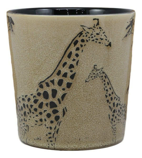 Savanna Wildlife Mother Giraffe And Calf Family Drinking Beverage Ceramic Mug