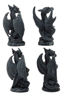 Ebros Fantasy Miniature Sentinel Guardian Dragons Set of 4 Statues Faux Stone Legendary Combat Dragon Collectible Mythical Mini Dragon Figurine Set