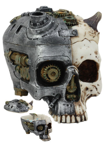 Ebros Steampunk Horned Demon Cyborg Skull Jewelry Box Statue Robotic Bone Devil