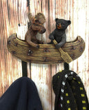 "Ebros Whimsical Forest Creek Buddies Rustic Black Bear and Elk Moose Rowing Boat Canoe 2 Pegs Wall Hooks 7"" Wide Hanger Wall Mount Coat Hat Keys Hook Decor"